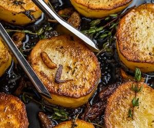 french food, roast, and fondant potato image