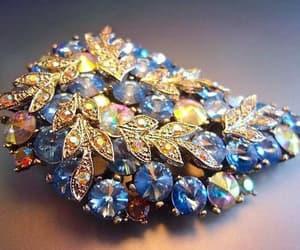 etsy, blue brooch, and blue rhinestones image