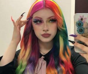 hairdye, rainbow hair, and colorful hair image