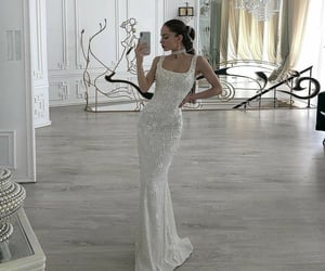 dress, chandelier, and fashion image