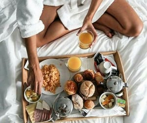 bed, breakfast, and juice image