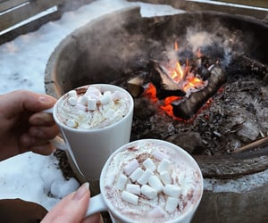 bonfire, cocoa, and chocolate image