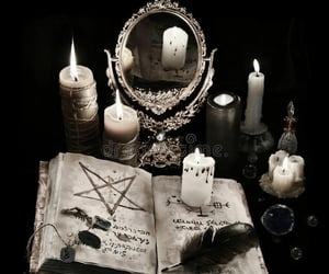black, candles, and crystals image