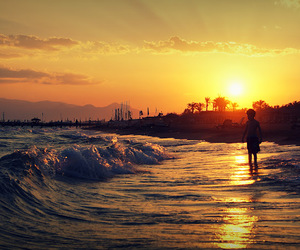 beach, sunset, and water image