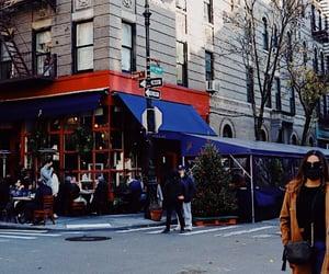 new york, brown coat, and corner image
