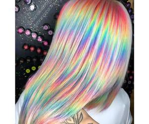 rainbow hair, hairdye, and colorful hair image
