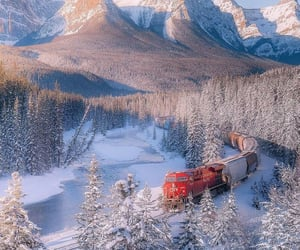 landscape, railroad, and locomotive image
