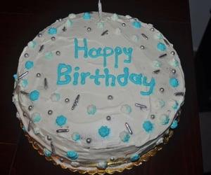 birthday cake, blue, and dessert image