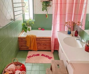 bathroom, green, and pastel image