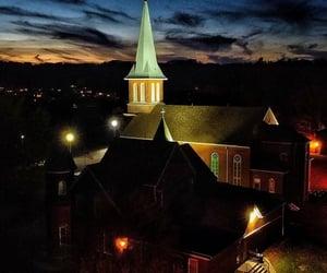 church, lit, and night image
