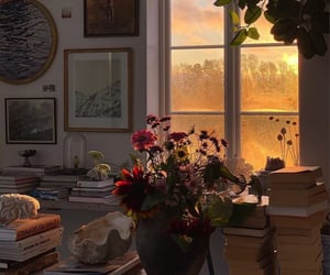 flowers, home, and book image