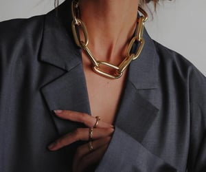 blogger, fashion, and gold necklace image