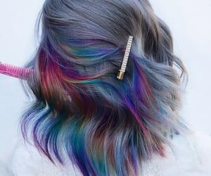 colorful hair, dyed hair, and rainbow hair image