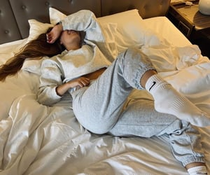 bed, chill, and girl image