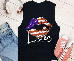 kiss, american flag, and lips image