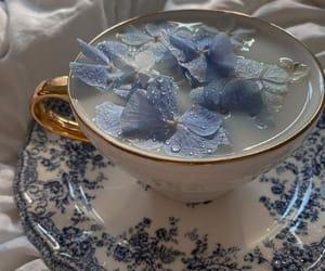 flowers, tea, and blue image