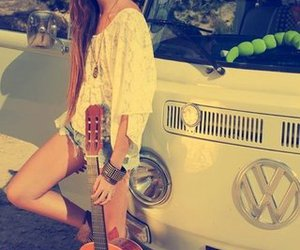 girl, guitar, and hippie image
