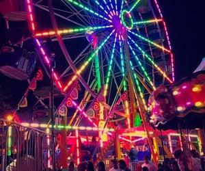carnival, lights, and rainbow image