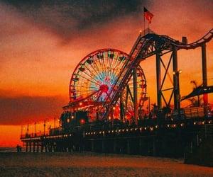 aesthetic, ferris wheel, and sunset image