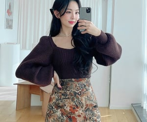 asian fashion, floral, and korean fashion image