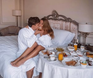 breakfast, couple, and hotel image