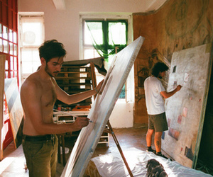 art, boy, and painting image