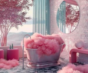 clouds, bath, and pink image