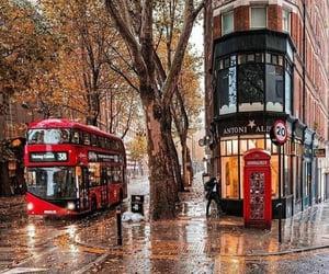 autumn, london, and rain image