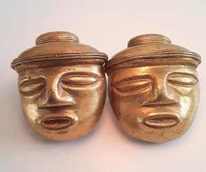 etsy, brass gold gilt, and ancient aztec image