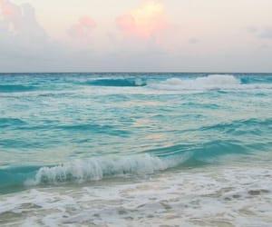 beach, ocean, and sky image