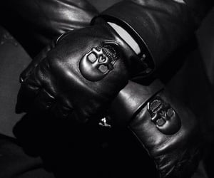 black and white, leather, and gloves image