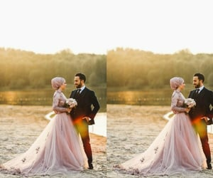 bride & groom, hijab, and muslim love image