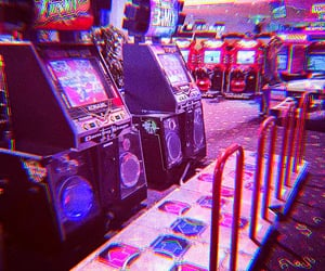 arcade, lights, and neon image