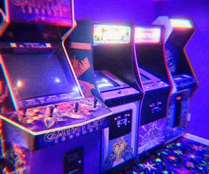 arcade, neon, and video games image