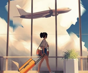 airport, anime, and art image
