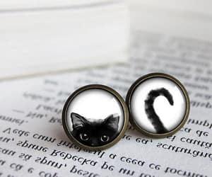 cute earrings, cat earrings, and mismatch earrings image
