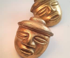 etsy, vintage earrings, and brass gold gilt image