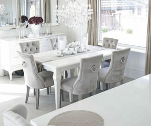 dining room, white, and chairs image