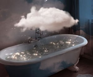 clouds, bath, and moon image