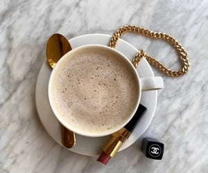 coffee, gold, and chanel image