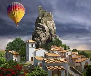 castle, hot air balloon, and Houses image