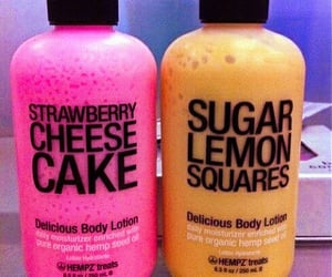yellow, body lotion, and pink image