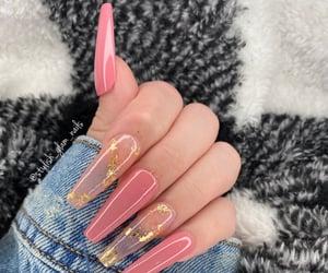 long nails, nails, and pink nails image