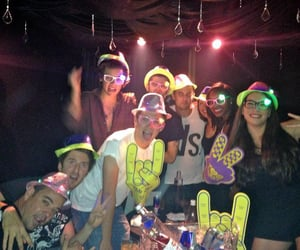 glasses, hat, and party image