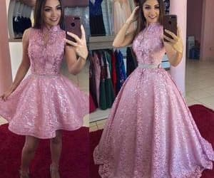 women fashion, pink prom dress, and vestido de fiesta image