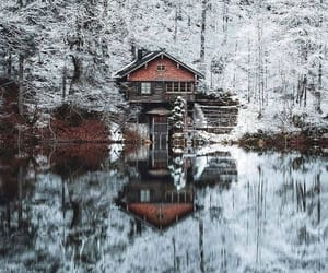 cabin, snow, and frosty image