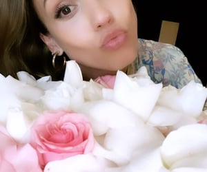 actress, celeb, and flowers image