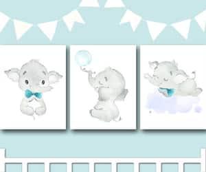 canvas print, elephant art, and nursery art image