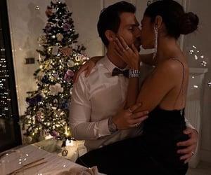 christmas, couple, and dress image