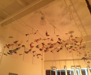 colorful, origami, and cranes image